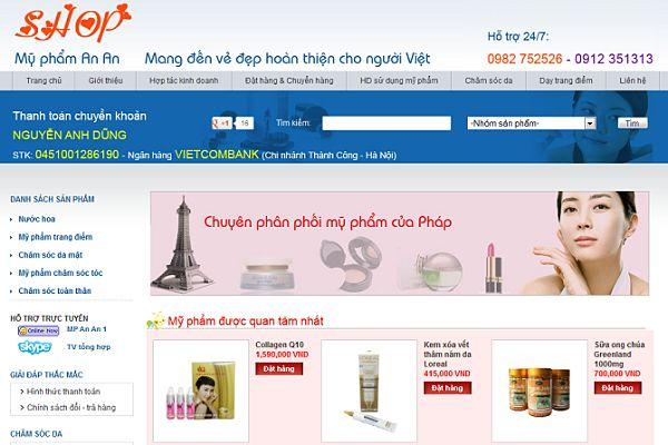 thiết kế web bán mỹ phẩm giá rẻ