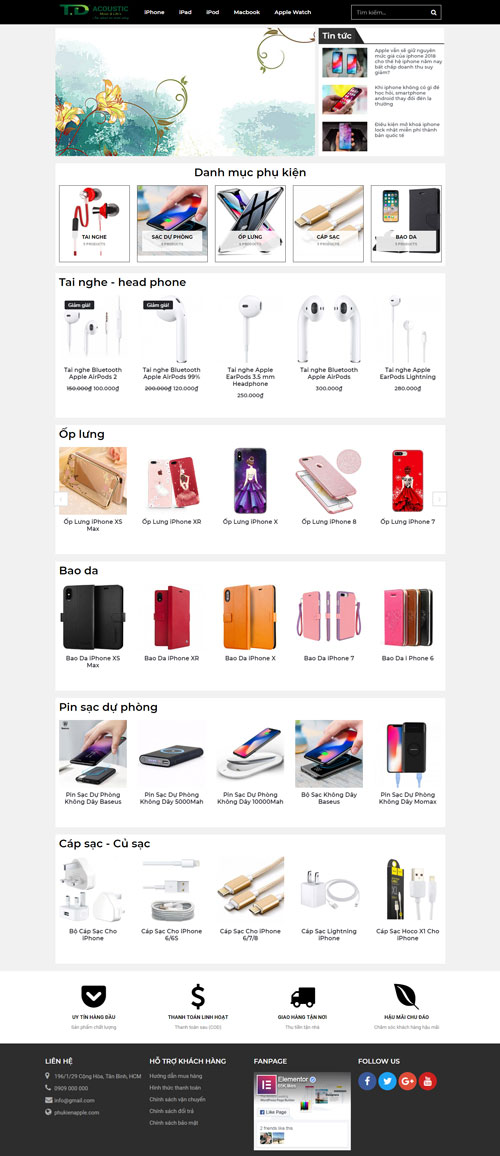 Website bán phụ kiện điện thoại 1