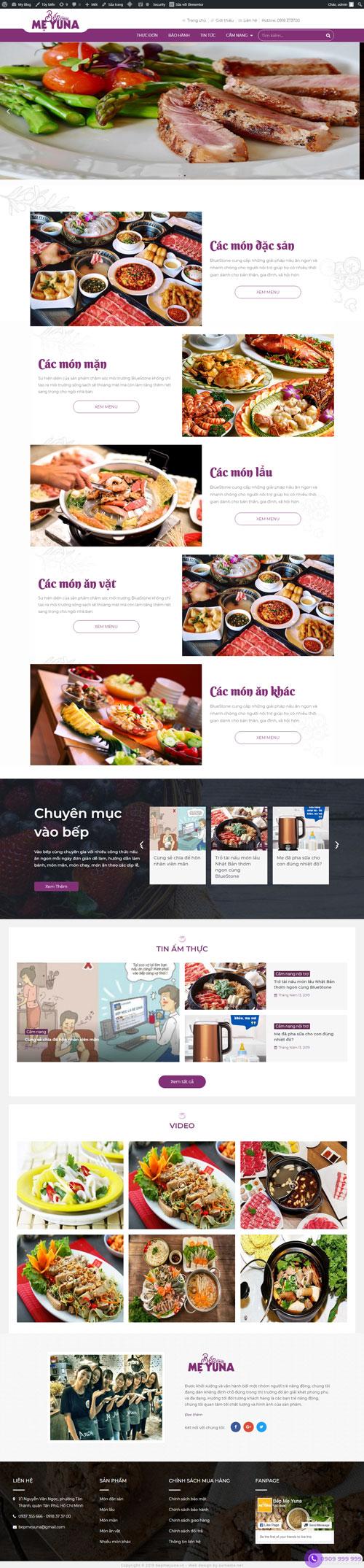 Website bán đồ ăn Mẹ Yuna 1