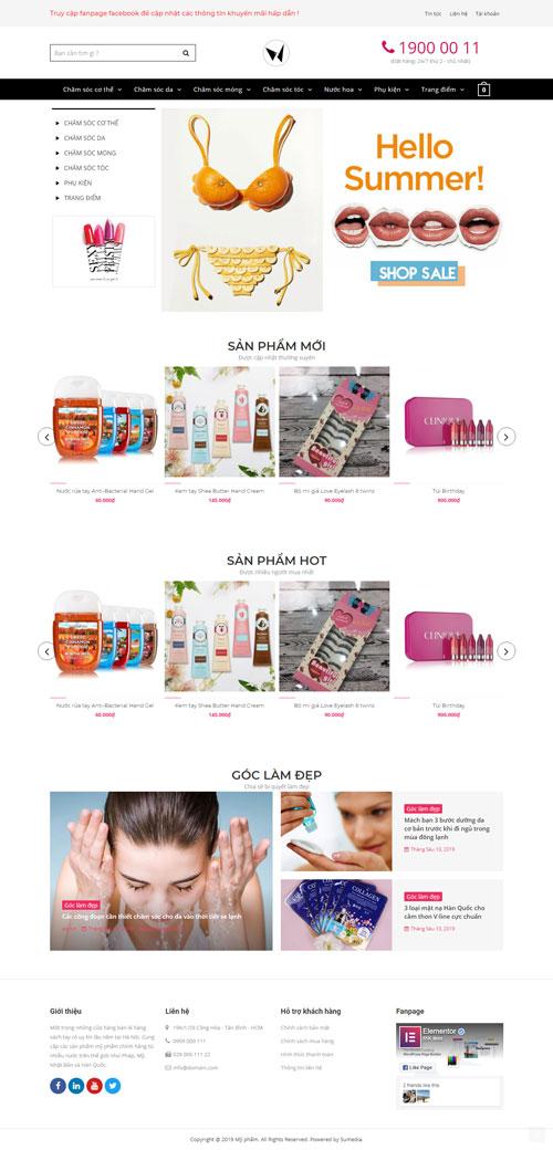 Website bán mỹ phẩm Eva Doctor 1