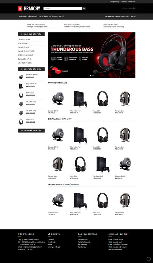 Website bán thiết bị âm thanh 1
