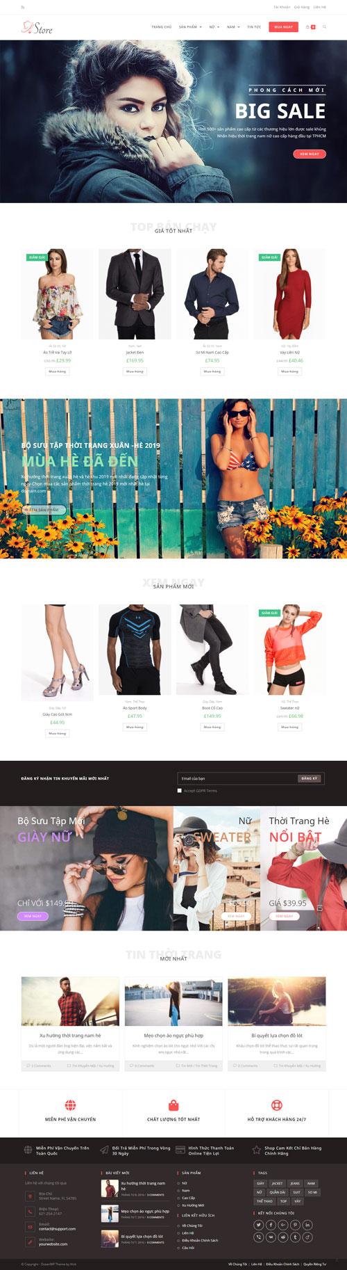 Website thời trang nam nữ Store 1
