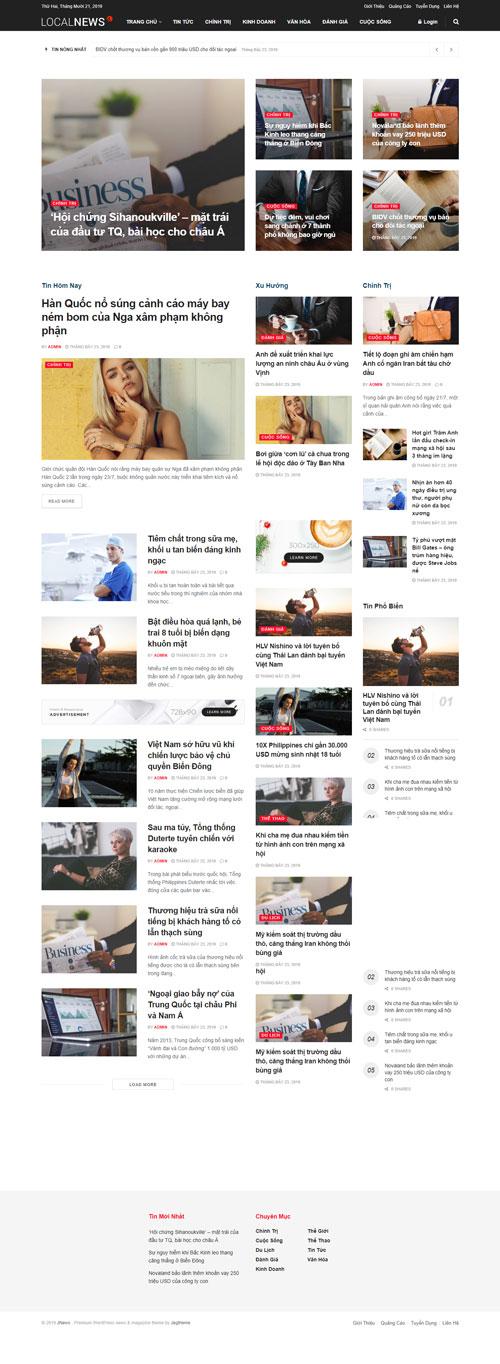 Giao diện website tin tổng hợp