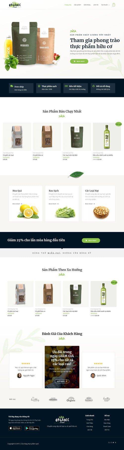 Website bán thực phẩm hữu cơ 1
