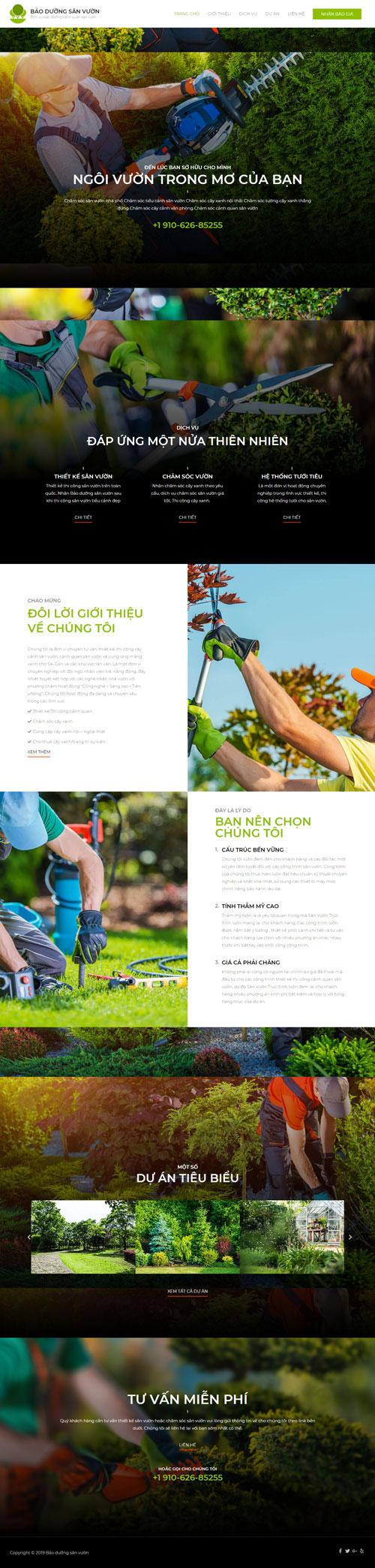 Website dịch vụ bão dưỡng sân vườn 1