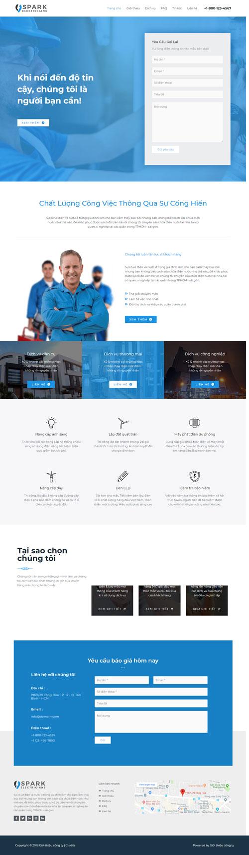 Website giới thiệu công ty sữa chữa điện 1