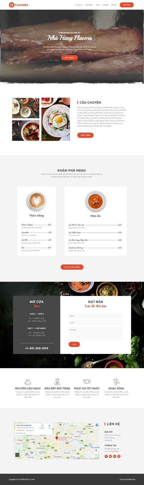 Website giới thiệu nhà hàng 1