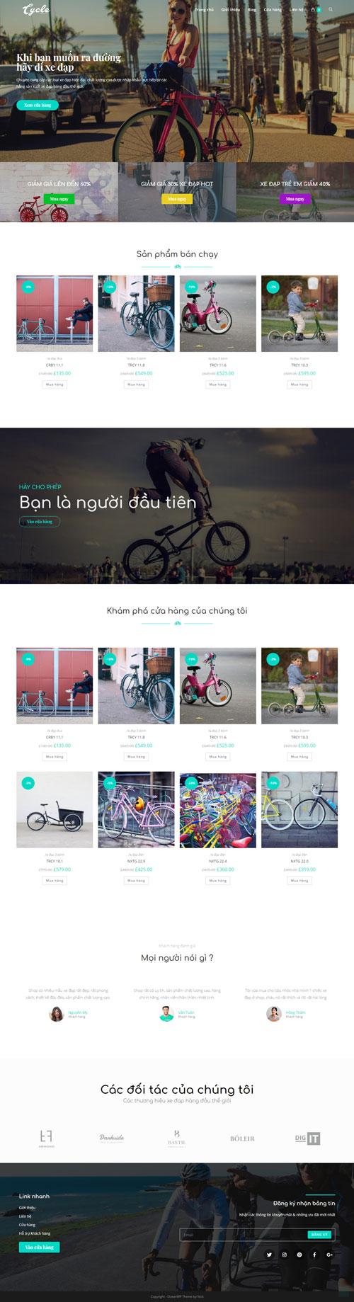 Website kinh doanh xe đạp 1