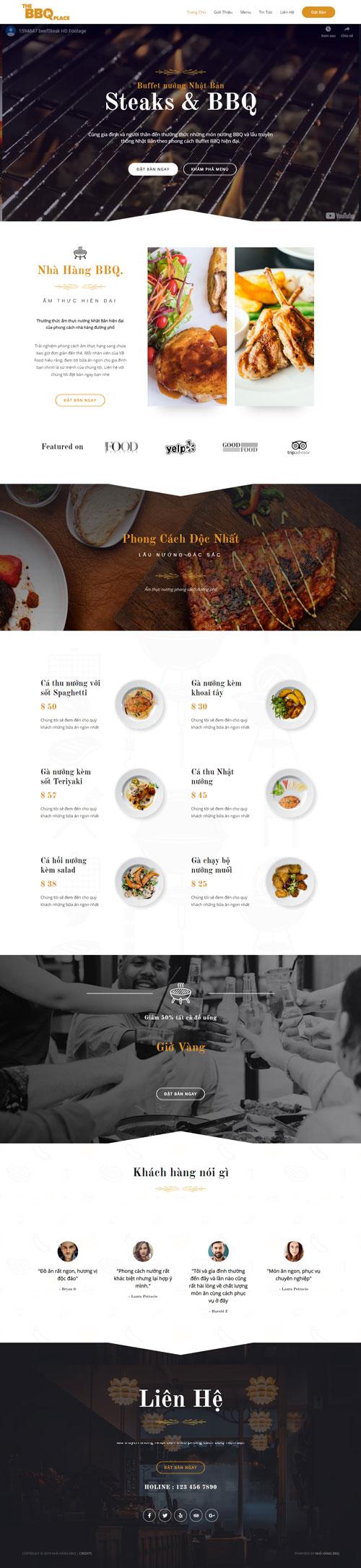 Website nhà hàng BBQ 1