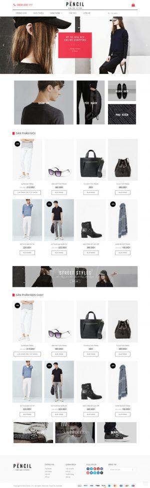 website bán thời trang pencil