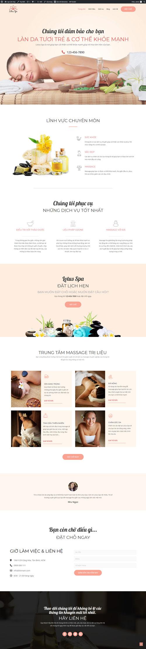 Website dịch vụ Spa làm đẹp 1
