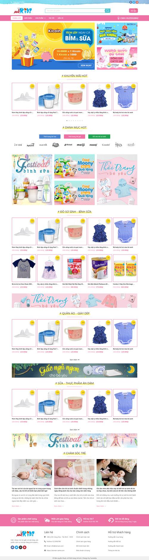 Website bán thời trang trẻ em 1