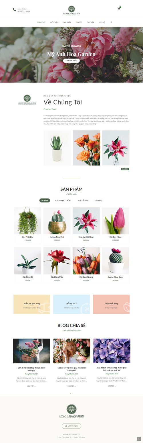 giao diện web bán hoa